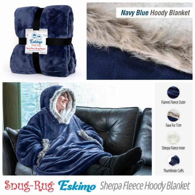 Snug-Rug Eskimo Hoodie Blanket Navy Blue
