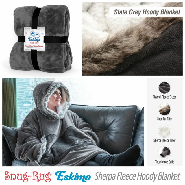Snug-Rug Eskimo Hoodie Blanket Slate Grey