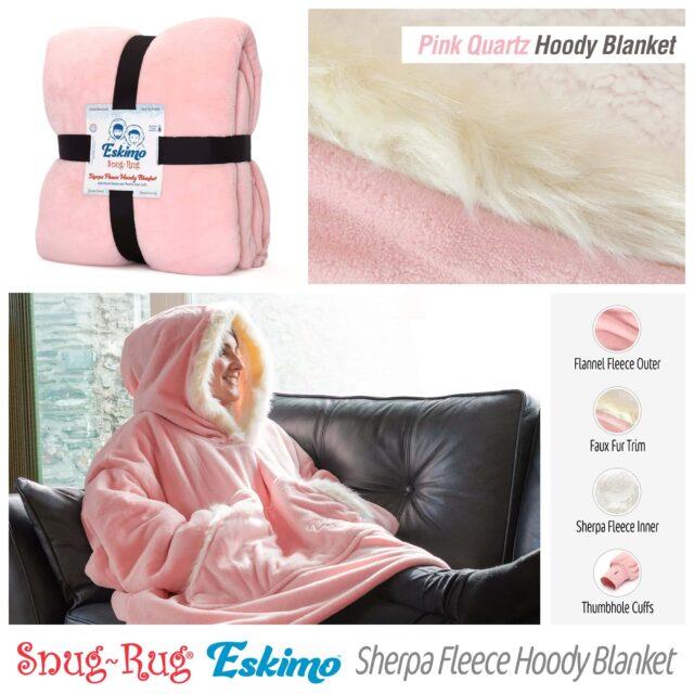 Snug-Rug Eskimo Hoodie Blanket Pink Quartz