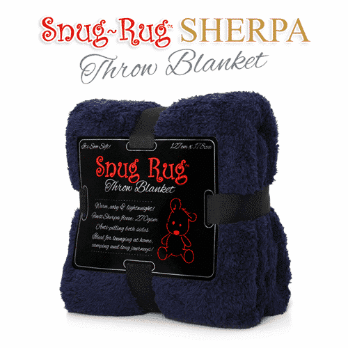 Navy Snug-Rug™ Sherpa Throw Blanket