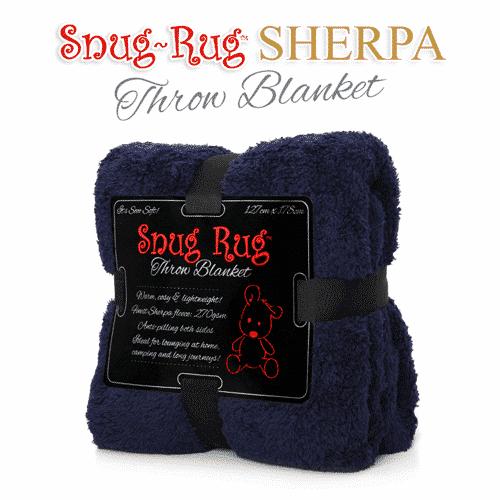 Navy Snug-Rug™ Sherpa Throw Blanket