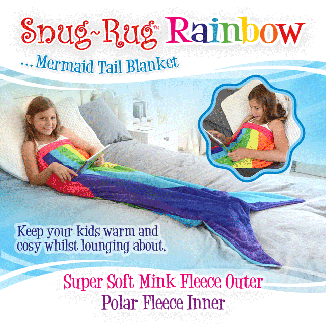 Snug-Rug™ Rainbow Mermaid Tail Blanket