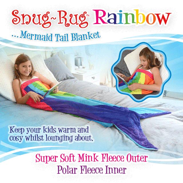 Snug-Rug™ Rainbow Mermaid Tail Blanket