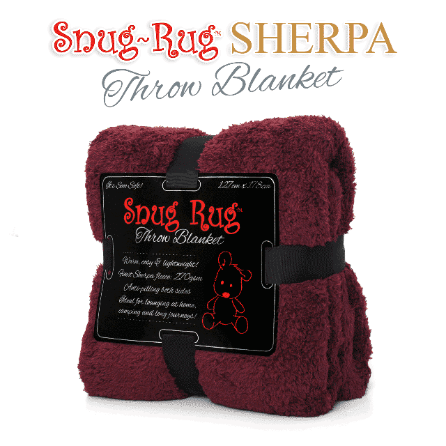 Mulberry Red Snug-Rug™ Sherpa Throw Blanket