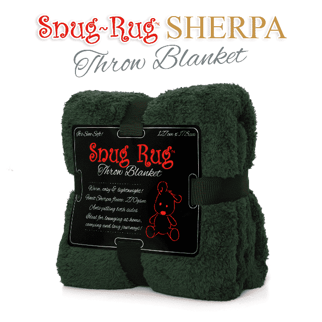 Racing Green Snug-Rug™ Sherpa Throw Blanket