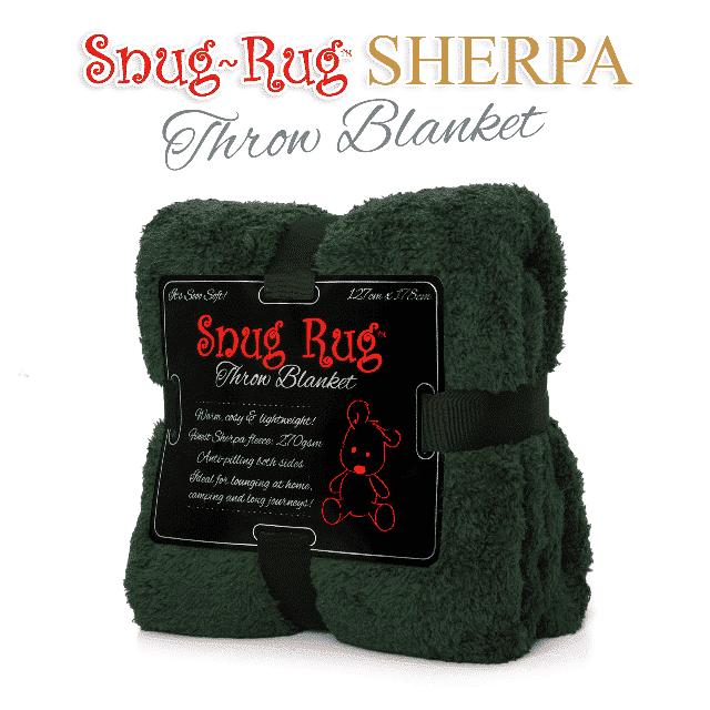 Racing Green Snug-Rug™ Sherpa Throw Blanket