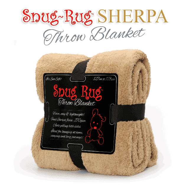 Sand Beige Snug-Rug™ Sherpa Throw Blanket